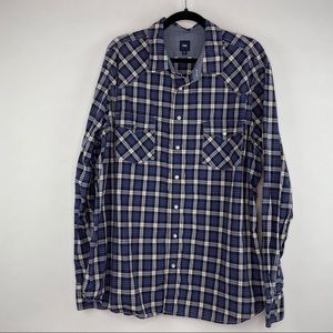 Gap Plaid Snap Button Shirt